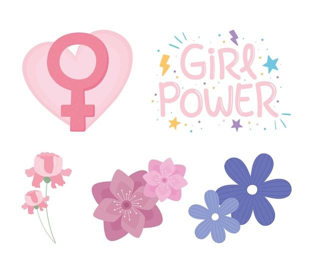 Dzień kobiet, zestaw z kwiatami i ilustracją płci żeńskiej dziewczyny mocy