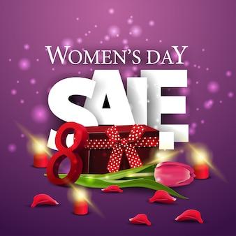 Dzień kobiet zniżki nowoczesny transparent fioletowy