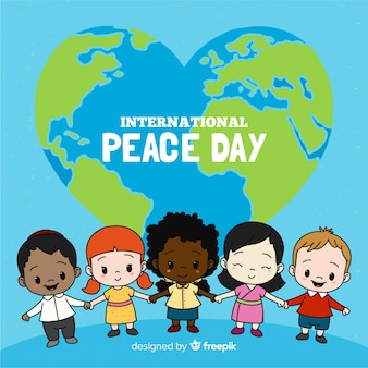 Dzień kompozycji pokoju z ręcznie rysowane dzieci