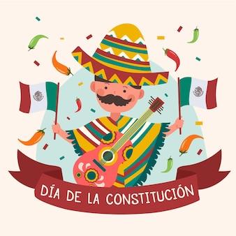 Dzień konstytucji meksyku z człowiekiem