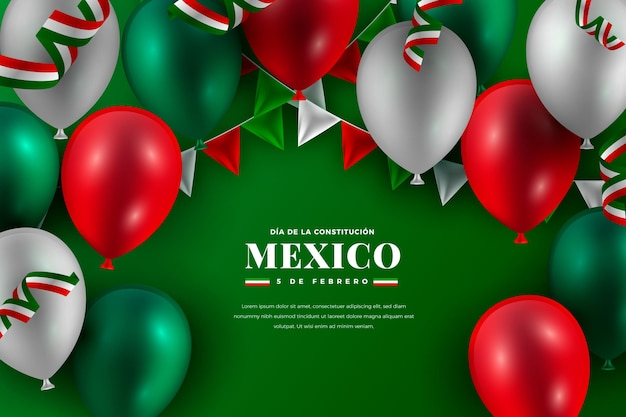 Dzień konstytucji meksyku z realistycznymi balonami