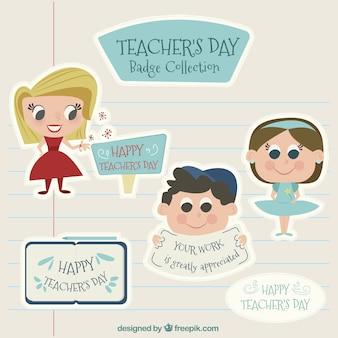 Dzień ładnej naklejek nauczyciela w stylu vintage