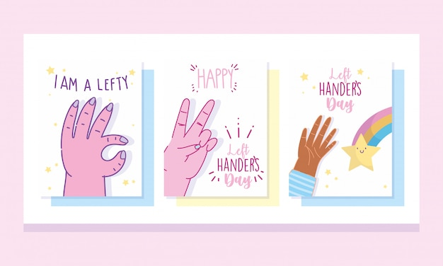 Dzień leworęcznych, projekt napisu uroczystości kreskówka ręka