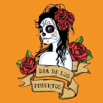 Dzień martwych meksykańskich cukrowych czaszek ozdobionych czerwonymi różami i wstążką w stylu vintage z napisem.