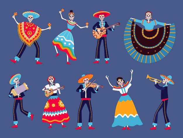 Dzień martwych szkieletów. meksykańskie postacie szkieletowych tancerzy dia de los muertos. catrina, szkielety muzyków mariachi z zestawem wektorów gitarowych. ilustracja meksykańskiego szkieletu do dnia śmierci