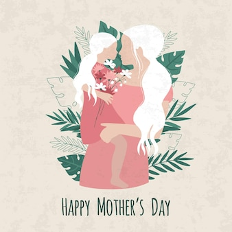 Dzień matki ilustracja z matką i córką sylwetka i słodkie życzenia