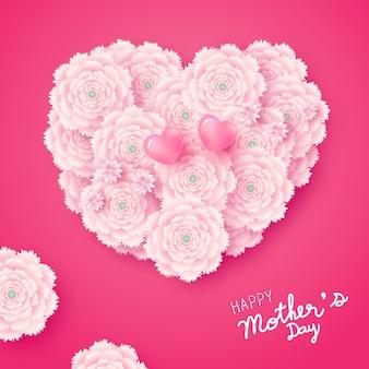 Dzień matki karta kształt serca kwiaty na różowym tle