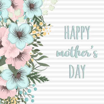 Dzień matki kartkę z życzeniami z kwiatów kwitnąć