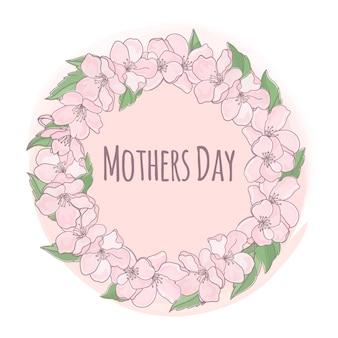 Dzień matki kwiatowe tło ramki
