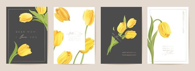 Dzień matki kwiatowy wiosna pocztówka. powitanie szablon realistyczne kwiaty tulipanów, nowoczesny kwiat tło. ilustracja wektorowa żółty bukiet. karta mamy i dziecka, nowoczesny projekt letniej imprezy dla matek