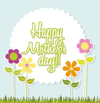 Dzień matki na niebieskim tle z ilustracji wektorowych kwiatów
