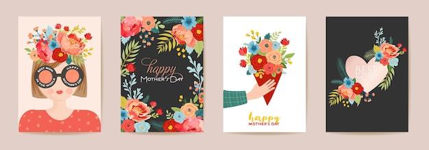 Dzień matki piękny zestaw kart okolicznościowych. wiosna szczęśliwy dzień matki transparent wakacje z kwiatami, mama charakter z bukietem szablon ulotki, ładny plakat. ilustracja wektorowa