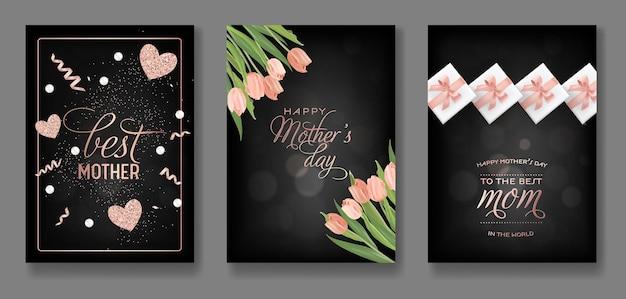 Dzień matki pozdrowienie projekt zestaw. happy mother day flyer z kwiatami, prezentami i złotym brokatem serca na plakat, baner, zaproszenie. ilustracja wektorowa