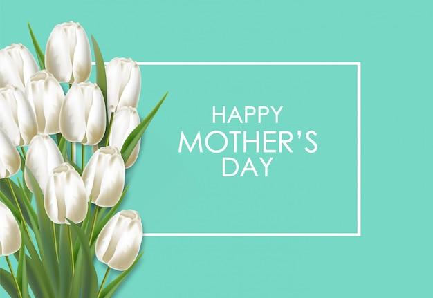 Dzień matki realistyczna biała bukiet tulipanów ilustracja