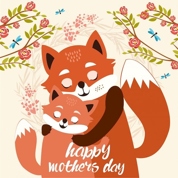Dzień matki. słodkie lisy