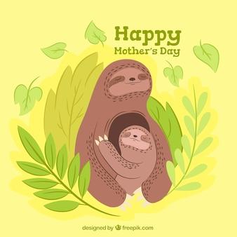 Dzień matki tło z cute leniwce