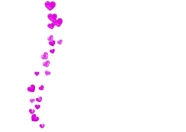 Dzień matki tło z konfetti różowy brokat. symbol na białym tle serca w kolorze róży. pocztówka na tle dzień matki. motyw miłości do kuponu, specjalny baner biznesowy. projekt świąteczny dla kobiet