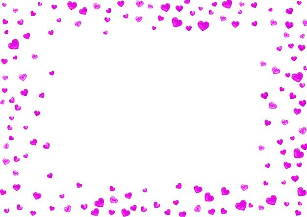 Dzień matki tło z konfetti różowy brokat. symbol na białym tle serca w kolorze róży. pocztówka na tle dzień matki. motyw miłości na plakat, bon upominkowy, baner. projekt świąteczny dla kobiet