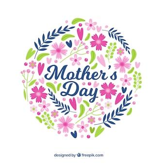 Dzień matki tło z kręgu kwiatów