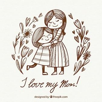 Dzień matki tło z szczęśliwą rodziną