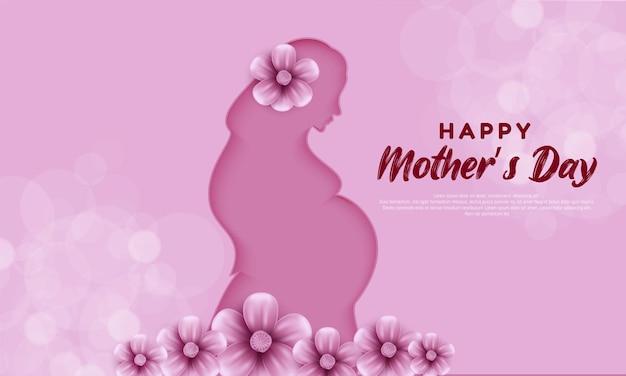 Dzień matki z kwiatem różowym.