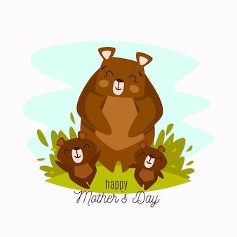 Dzień matki z niedźwiedziem i młodymi