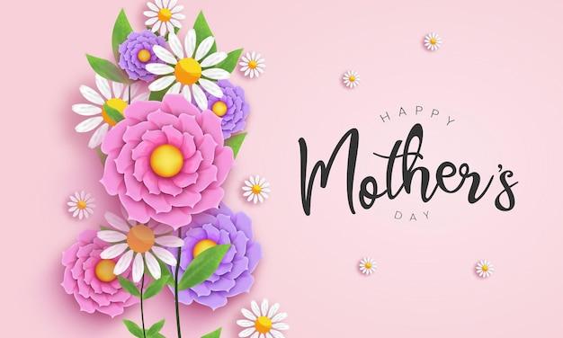 Dzień matki z realistycznym kwiatem i typografią, dekoracją kwiatową z kartką z życzeniami kaligrafii