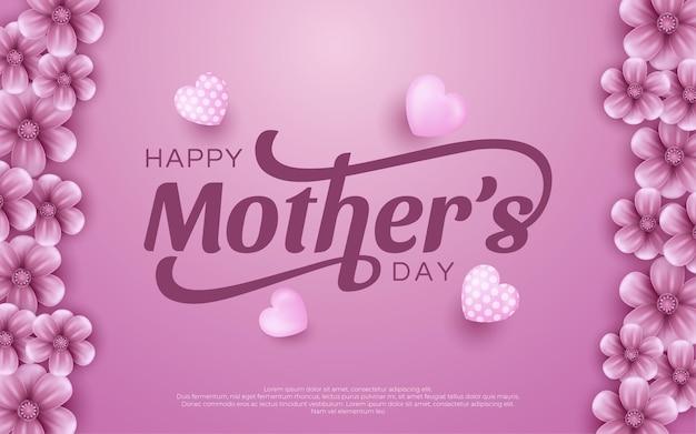 Dzień matki ze słodkimi serduszkami i kwiatami.