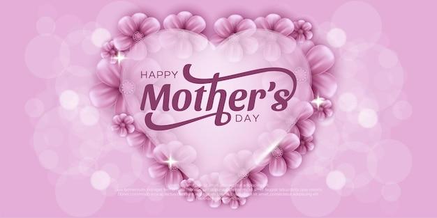 Dzień matki ze słodkimi serduszkami i kwiatem.