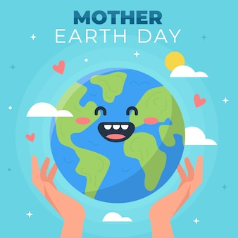 Dzień matki ziemi w płaskiej konstrukcji