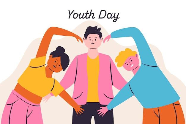 Dzień młodości ilustracja z ludźmi tworzy serce