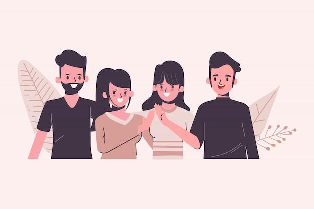 Dzień młodzieży koncepcja międzynarodowa postać ludzi w płaskiej konstrukcji. praca zespołowa dołącz do grupy.