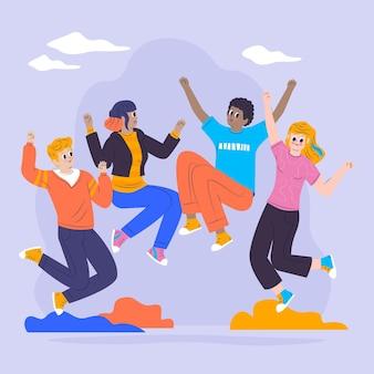 Dzień młodzieży skaczący ludzie w płaskiej konstrukcji