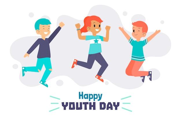 Dzień młodzieży skaczący ludzie
