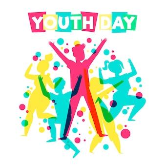 Dzień młodzieży skoki sylwetki ludzi