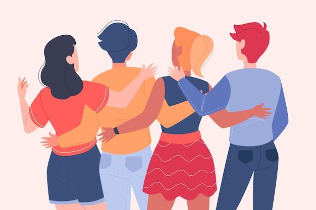 Dzień młodzieży z ludźmi przytulającymi się razem