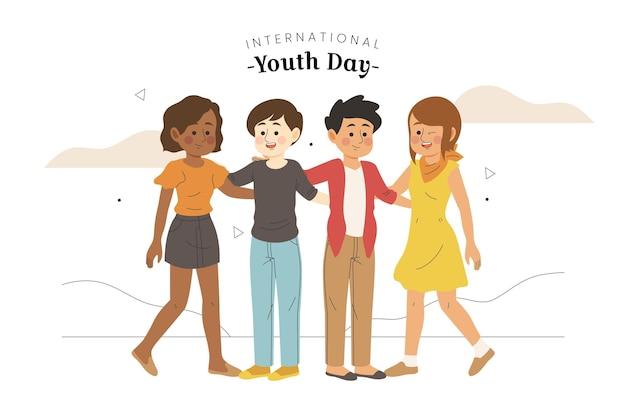 Dzień młodzieży z młodymi ludźmi obejmującymi się nawzajem