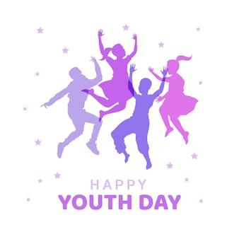 Dzień młodzieży z sylwetkami ludzi skaczących