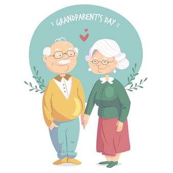 Dzień narodowych dziadków w płaskiej konstrukcji