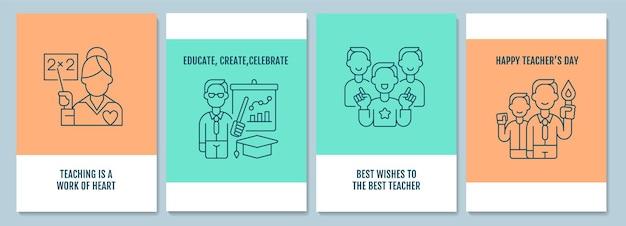 Dzień nauczyciela na całym świecie pocztówki z zestawem ikon liniowych glifów. coroczne wydarzenie. kartkę z życzeniami z ozdobnym wektorem. plakat w prostym stylu z ilustracją kreatywnych przebiegłość. ulotka z życzeniami świątecznymi
