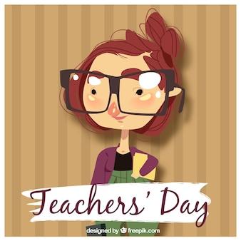 Dzień nauczyciela, nauczyciel z okularami