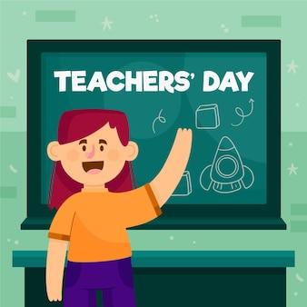 Dzień nauczyciela z tablicą i uczniem