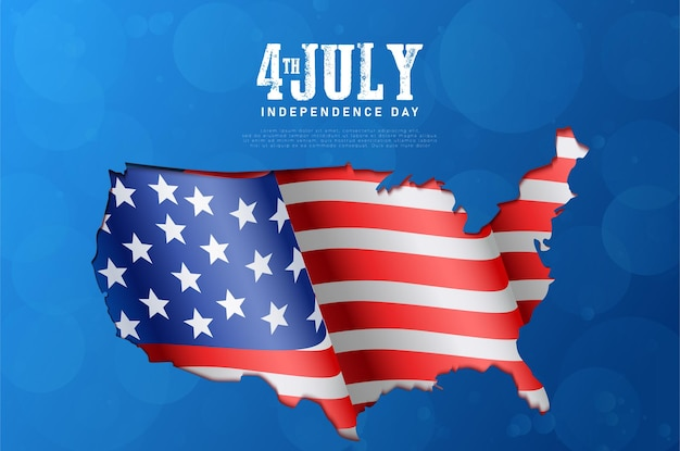 Dzień niepodległej ameryki 4 lipca z amerykańską flagą