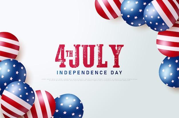 Dzień niepodległej ameryki 4 lipca z balonem america na prawym i lewym rogu.