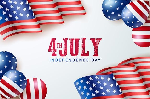 Dzień niepodległej ameryki 4 lipca z flagą ameryki i balonem.