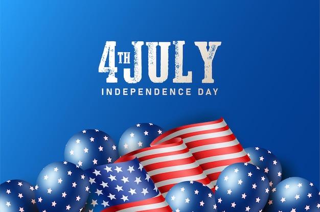 Dzień niepodległej ameryki 4 lipca z flagą i balonem ameryki
