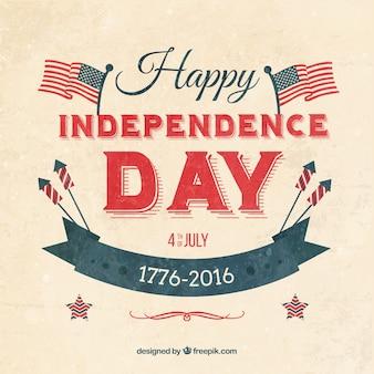 Dzień niepodległości backgrouund w stylu vintage z flagami i wstążką
