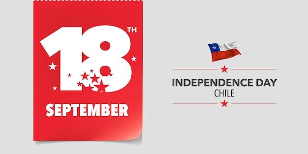 Dzień niepodległości chile. chilijskie święto narodowe 18 września tło z elementami flagi w kreatywnym poziomym projekcie