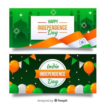 Dzień niepodległości indii banner płaska konstrukcja