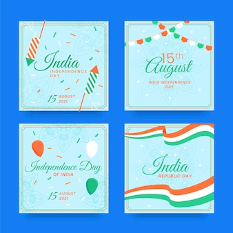 Dzień niepodległości indii na instagramie postów kolekcji